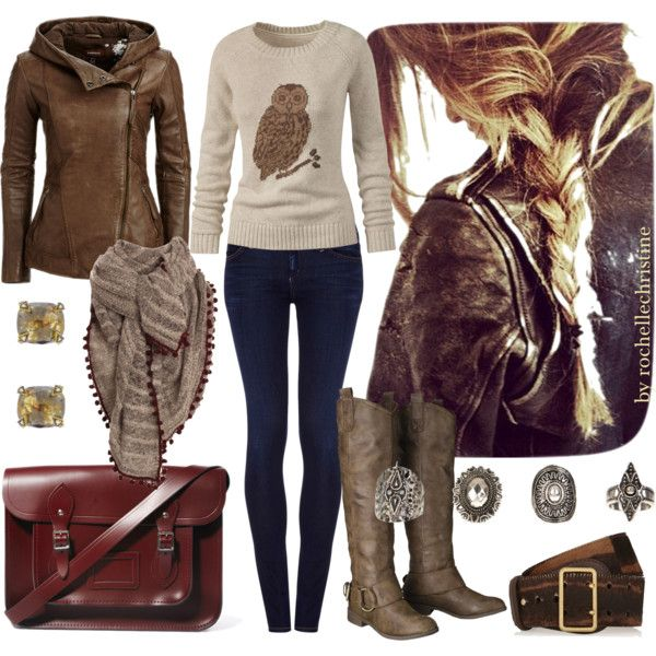 """Rustic Fall Outfit with Leather Jacket + Boots"" by rochellechristine on Polyvore"