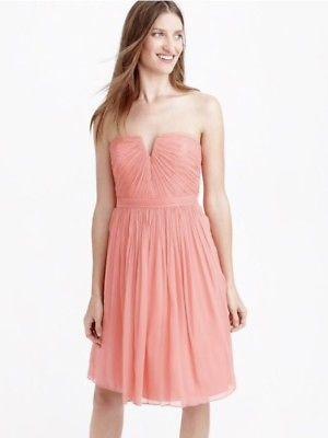 129f3ebfb81 Womens J. Crew Nadia Dress In Silk Chiffon Size 4 Strapless Coral in ...