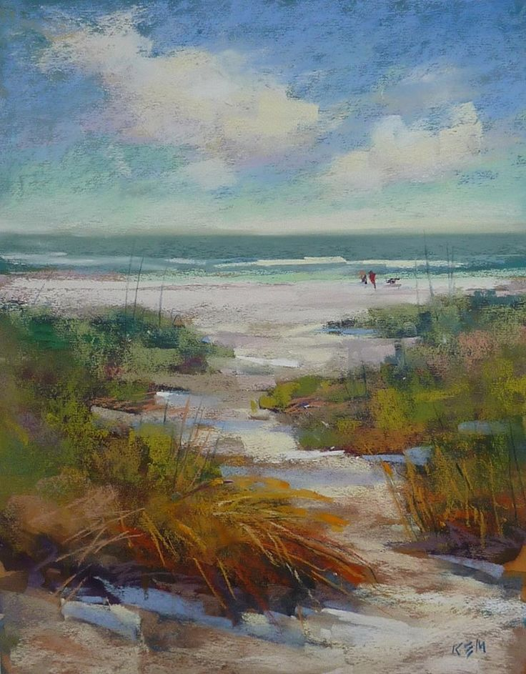 Karen Margulis 'Dog Beach' 11x14 pastel, gouache underpainting