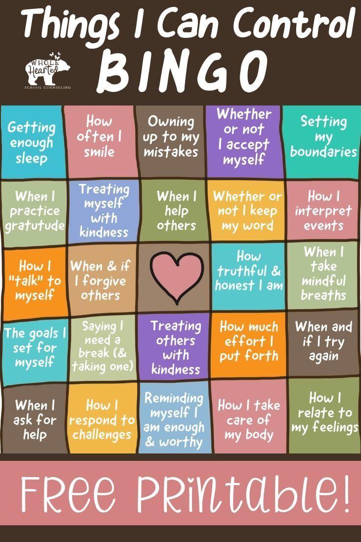 The Things I Can Control Bingo Poster Fun Freebie Social Emotional Learning School Social Work Coping Skills