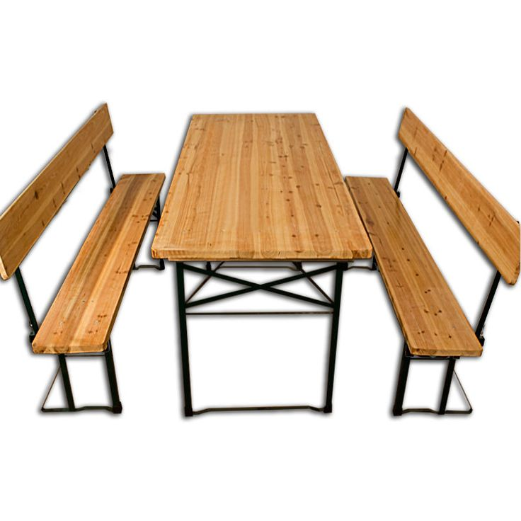 Good Garden Bench Set Benches Table Steel Wooden Folding Furniture Picnic Pub Style