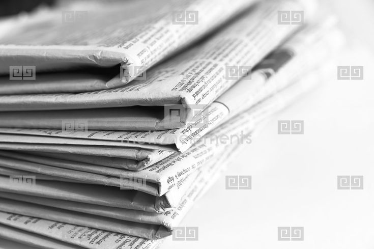 Black And White Shot Stack Of Folded Newspapers Shallow Depth Of Field, Copyspac Stock Footage | Royalty-Free Stock Photo Library | 10342350