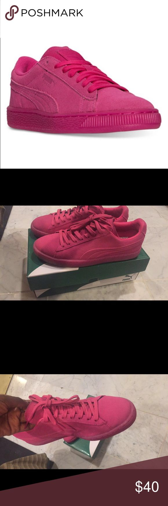 Puma Sued Embossed Iced Fluo Sneakers Worn once in great condition fits a women's size 9.5 or 10!! PUMA styling with modern enhancements, the PUMA Classic Suede can be dressed up or down for daily wear. Puma Shoes Sneakers