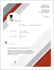 Food Services Catering Sample Proposal - The Food Services Catering Proposal is an example of a proposal using Proposal Pack to pitch food service and catering services to another company. Create your own custom proposal using the full version of this completed sample as a guide with any Proposal Pack. Hundreds of visual designs to pick from or brand with your own logo and colors. Available only from ProposalKit.com. Come over, see this sample and Like our Facebook page to get a 20%…
