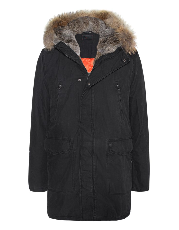 IQ BERLIN Parka Basic Black Parka with removable fur facing - Jackets & Coats