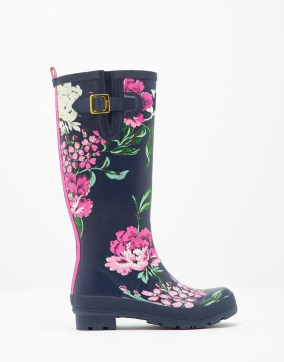 Printed Navy Floral Printed Rain Boots | Joules US