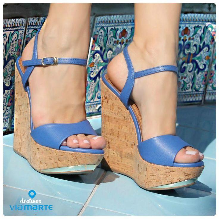 salto alto - azul bic - sandália anabela - heels - colors - Ref. 14-13627 - alto verão 2015