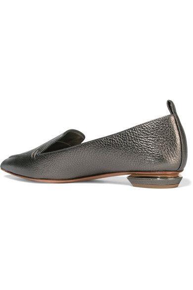 Nicholas Kirkwood - Beya Metallic Textured-leather Point-toe Flats - Gunmetal - IT40.5