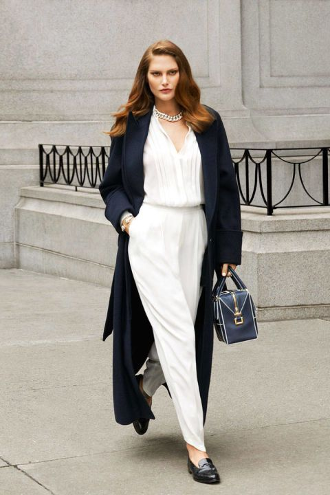 H&M Studio Fall 2014 Collection coat, $199, and pants, $69.95; H&M blouse, $59.95, hm.com; David Yurman necklace, $5,200, and cuff, $9,500, 212-752-4255; Tiffany & Co. rings (worn throughout), $475-4,200, tiffany.com; Tod's bag, $1,925, 212-644-5945; Hermès shoes, $8,650, 800-441-4488.