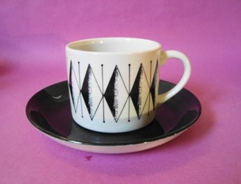 MAGAMBO Pattern. Black saucer & balck & white patterned cup, ICONIC for its use in the Original GREGGS Coffee Commercial in the 70`s