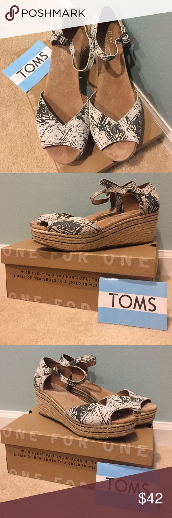 TOMS espadrilles platform wedge sandals Complete with box and TOMS sticker!  Worn 2 or 3 times.  Very cute with skinny jeans. TOMS Shoes Espadrilles