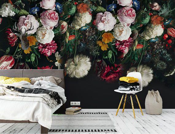 Vintage Floral Removable Wallpaper Oil Dutch Dark
