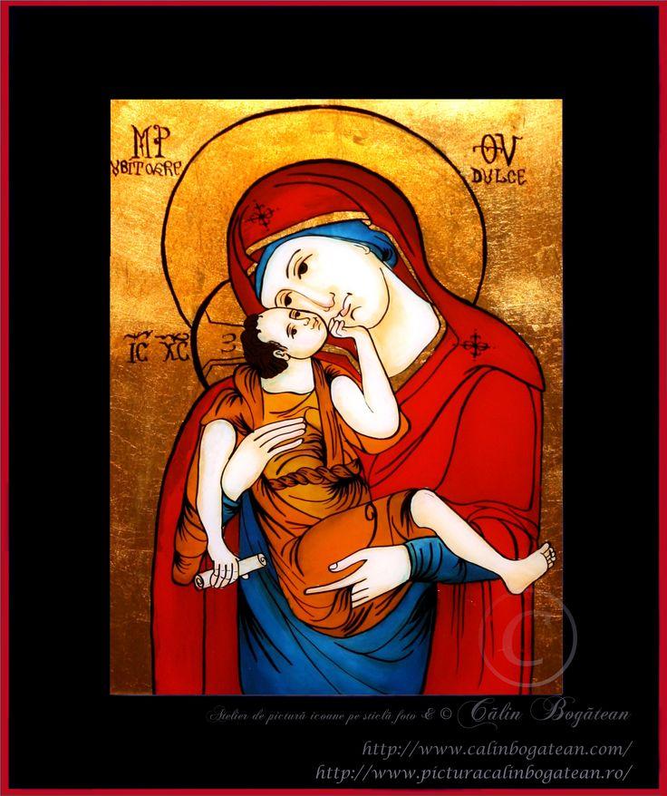 Maica Domnului dulce iubitoare icoană naivă pictată pe dosul sticlei în ulei pictură tradițională lucrare de artă religioasă icoană ortodoxă pe sticlă icoană Maica Domnului dulce iubitoare icoană  pictată  pe sticlă cu Maica Domnului dulce iubitoare