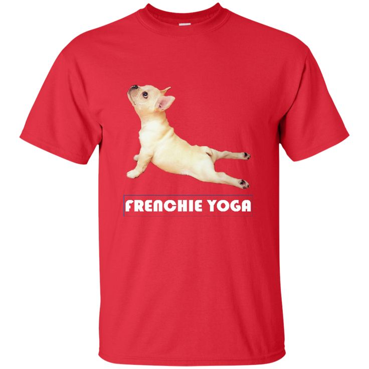 FRENCHIE YOGA T-SHIRT WITH WHITE LETTERS