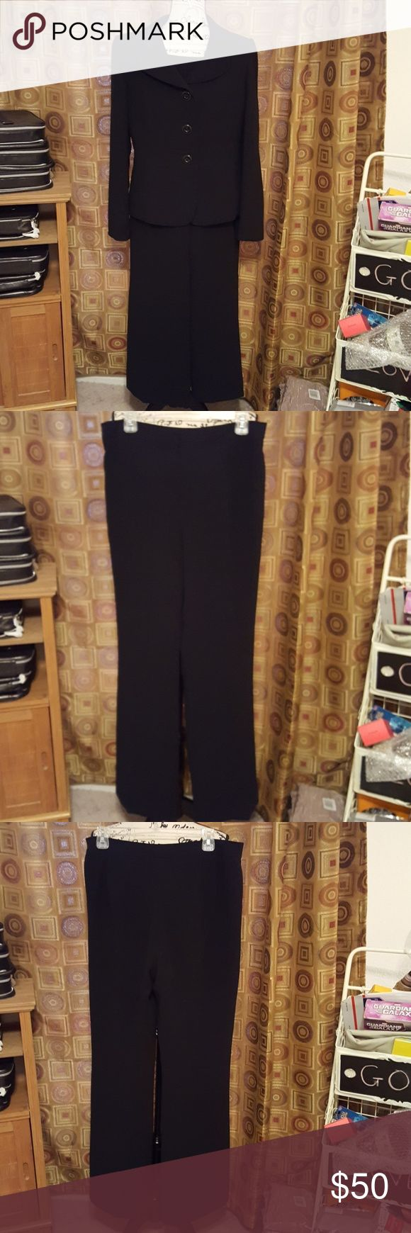 EUC, Tahari Black Pant Suit Elegant black pant suite. Simple, with three large black buttons on jacket. Perfect for work or casual event. Size 12. Tahari Pants
