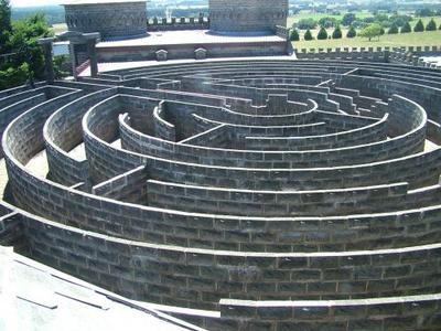 Kryal stone wall labyrinth, Kryal Castle, Ballarat, Victoria. 30 mins from Keebles Guest House Clunes