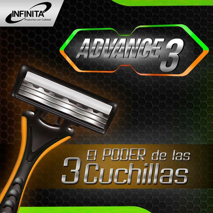 """ADVANCE 3 para una afeitada precisa y sin irritaciones.  Dale """"me gusta"""" y conoce más productos de alta calidad para el cuidado del hombre. #hombre #salud"""
