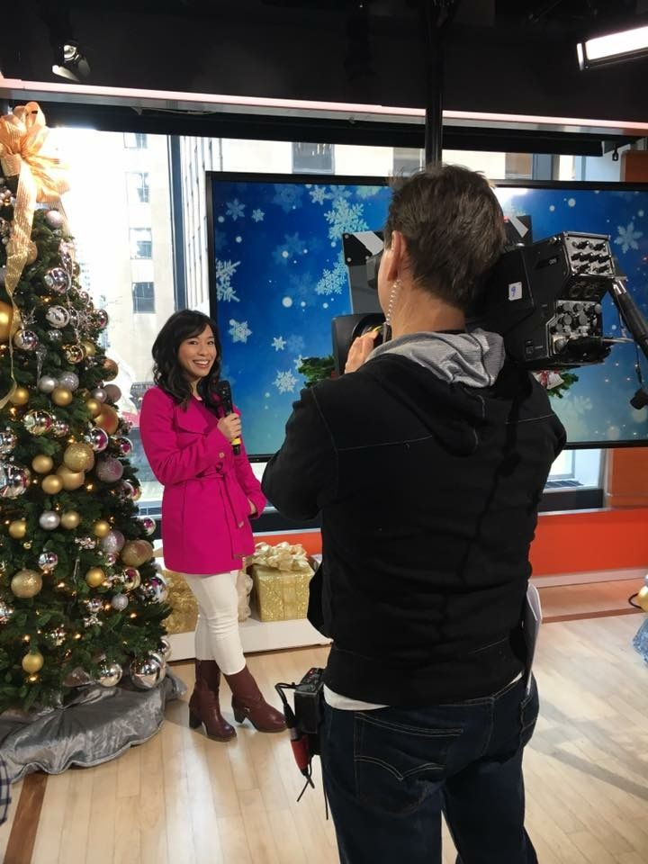 Linda Phan watching her fiancé Drew Scott & his twin brother Jonathan Silver Scott on the Today Show in NYC. December 20, 2016