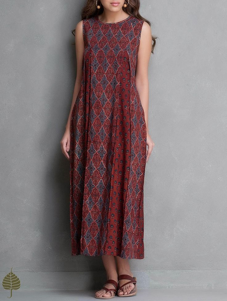 Buy Madder Indigo Black Ajrakh Printed Kali Dress by Jaypore Cotton Apparel Tops & Dresses Online at Jaypore.com