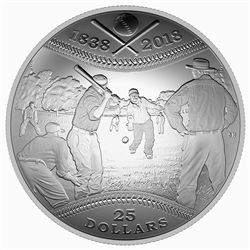2018 $25 180th Anniversary of Canadian Baseball - Pure Silver Coin