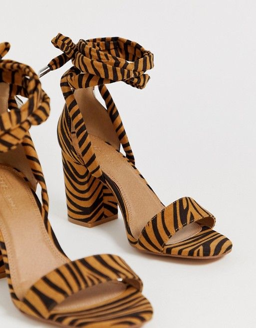 95979e3c2cf DESIGN Wide Fit Howling tie leg block heeled sandals In tiger in ...