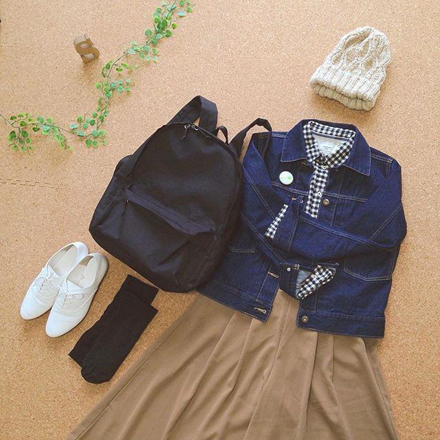 tedy_xoxo2016/03/01 #昨日の服装*....◡̈⋆ * みなさん 3月もよろしくお願いします(*´∪`) * 今日も1日エイエイオー٩( ᐛ )( ᐖ )۶ * 着画Blogに載せてます(。◡̈。) top画にURL貼りました 。◎ #ニット帽#ギンガムチェック#シャツ #しまむら #デニム#デニムジャケット#ガウチョパンツ #オックスフォードシューズ#GU #リュック#無印良品 * #今日の服#今日のコーデ#コーデ#coordinate #置き画くら部#置き画#今日の服装 #シンプル#ママコーデ#プチプラコーデ #サンキュ#サンキュインスタ部
