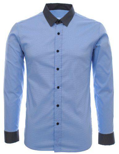 FLATSEVEN Herren Designer Slim Fit Kontrast Kragen Check Dress Hemden (SH195) Blue,  FLATSEVEN http://www.amazon.de/FLATSEVEN-Designer-Kontrast-Two-Tone-SH196/dp/B00ITEIX4O