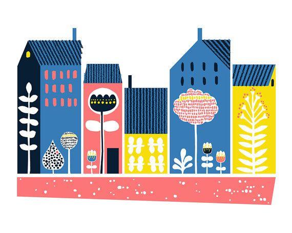 Dwellings Scandinavian print Giclee print by dandiifluff on Etsy