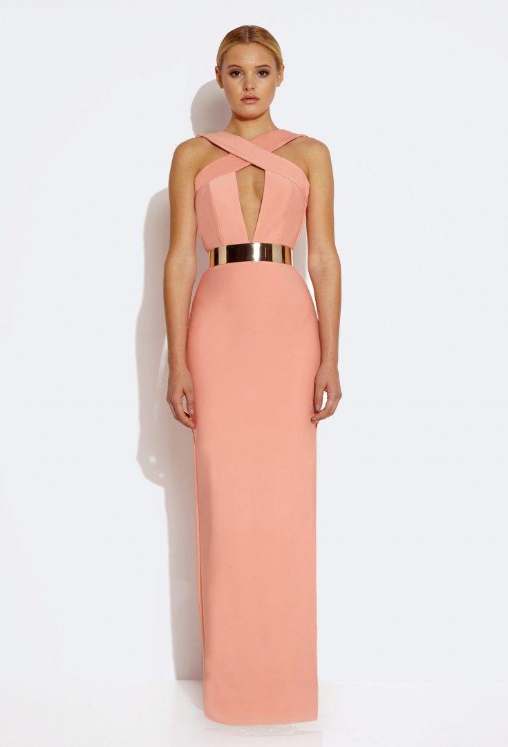 Crusher Cross Strap Maxi Dress - Nude Pink £160
