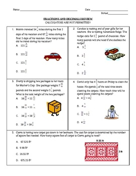 fractions and decimal multiple choice review this 18 page review includes 17 multiple choice. Black Bedroom Furniture Sets. Home Design Ideas