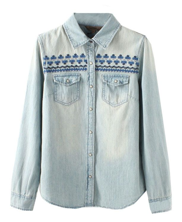 Ethnic Style Embroidery Denim Blouse