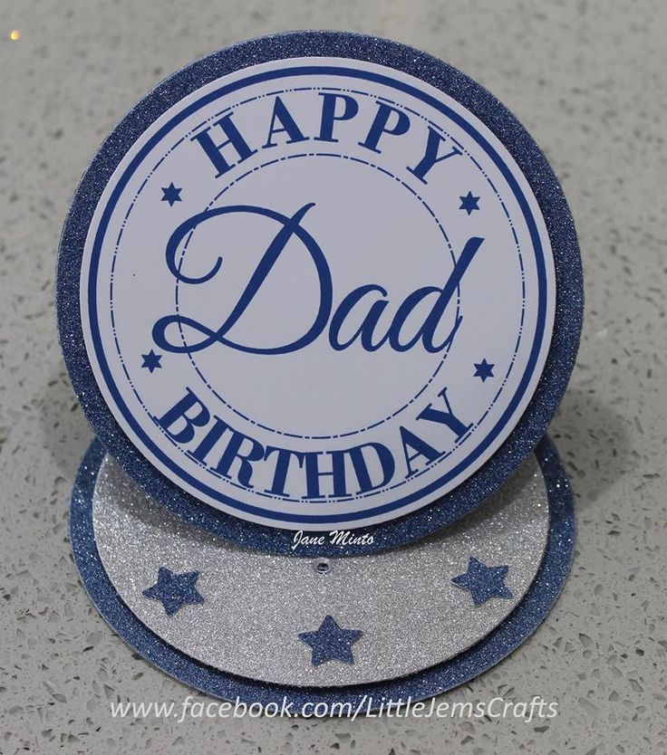 Happy Birthday Dad - circle easel style - handmade card by MintsDesigns on Etsy