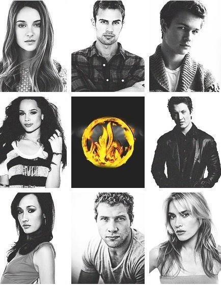 Divergent cast clockwise Tris, Tobias, Caleb, Peter, Jeanine, Eric, Tori, Christina