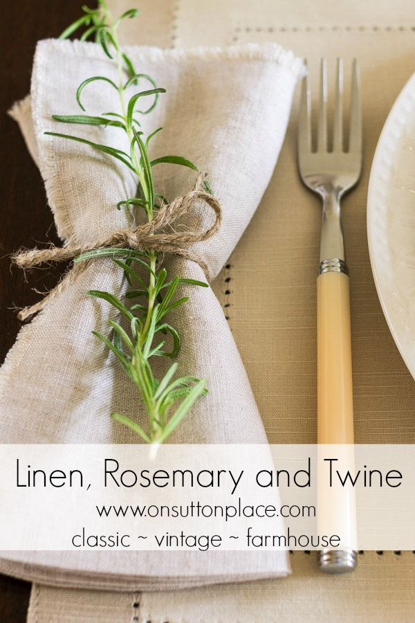 Linen, Rosemary and Twine DIY napkin for Thanksgiving Table Setting