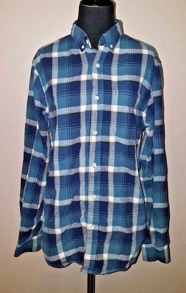 Old Navy Sz S Mens Slim Fit Button Down Blue Plaid Shirt Long Sleeve #OldNavy #ButtonFront