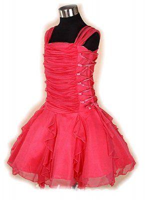 Roze rood kort feestjurkje 116/122