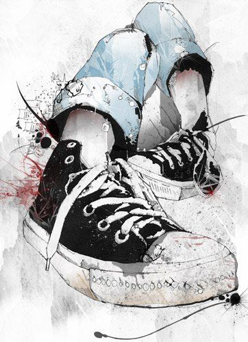 Great image for the teenage daughter or son's room.   Illustration | Chucks-  Love my chuck taylors