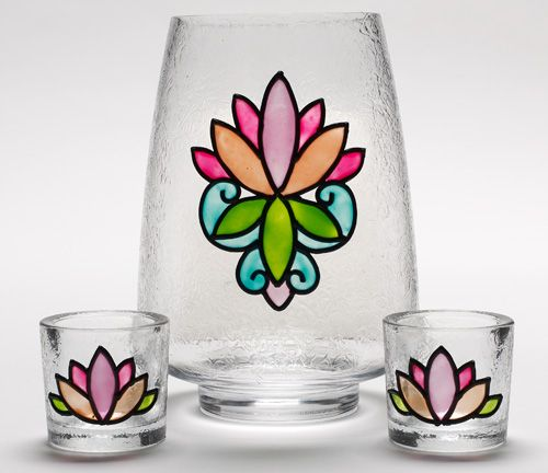 lotus blossom hurricane and votives - glass painting