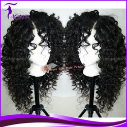 Online Shop Fashion Curly peruvian glueless full lace human hair wigs lace