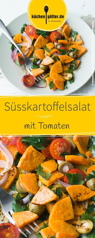 Rezept für warmen Süsskartoffelsalat mit Tomaten.