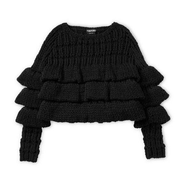 CROPPED LAYERED WOOL SWEATER ($2,390) ❤ liked on Polyvore featuring tops, sweaters, wool crop top, woolen tops, layered crop top, double layer top and wool sweater