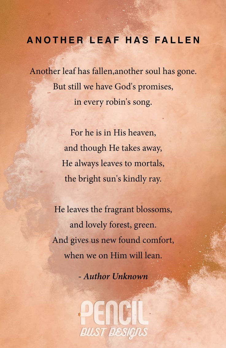 Another Leaf Has Fallen. A collection of semi religious funeral poems that help soothe our grieving hearts. Curated by Pencil Dust Designs, creators of personalised, uplifting, and memorable order of service booklets.
