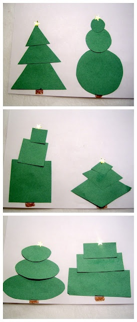 Christmas Tree shapes! This would be a great toddler activity.