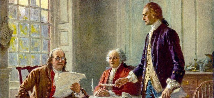 L'écriture de la Déclaration d'indépendance par Benjamin Franklin, John Adams et Thomas Jefferson, par Jean Leon Gerome Ferris (1900). Via Wikimédia Commons.