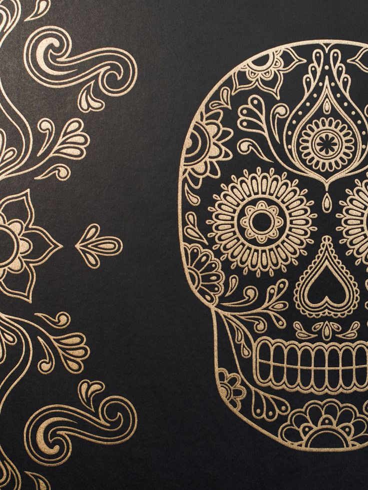 Detail of Mexican Day of the Dead Sugar Skull Wallpaper Black & Gold Anatomy Boutique