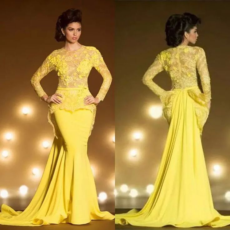 >> Click to Buy << 2017 New Arrival Fashion Lace Formal Evening Dresses With Long Sleeves Mermaid Appliqued Sheer Neck Peplum Prom Dress Yellow  #Affiliate