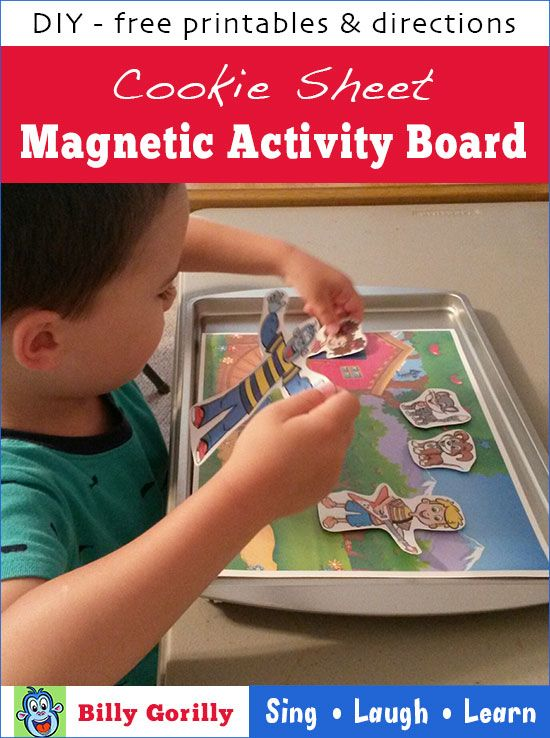 So cute! Free printables to make a Billy Gorilly Magnetic Cookie Sheet Activity Board.