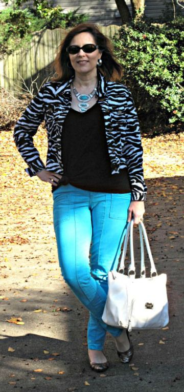 Zebra with Teal Skinnies/ Over 40 petite blogger/ Weight Watcher/