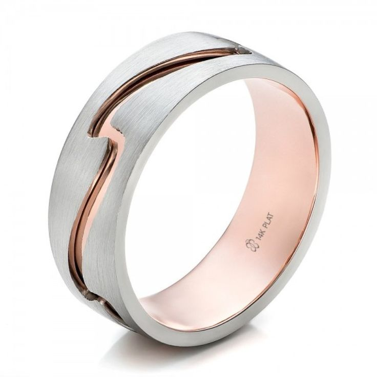 Top 60 Stunning & Marvelous Rose Gold Wedding Bands ... Custom-Mens-Two-Tone-Rose-Gold-and-Platinum-Band-3Qtr-100819 └▶ └▶ http://www.pouted.com/?p=33560