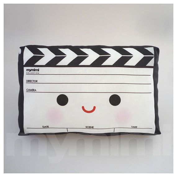 Mini Pillow - Movie Clapper ♡ Makes a great addition to any play room & is fun to bring along anywhere! Stuffed with soft white polyester, suitable for